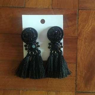 H&M Black Tassle Earrings