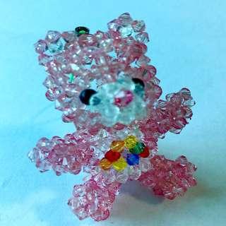 Handmade Beaded Care Bear Phone Charm