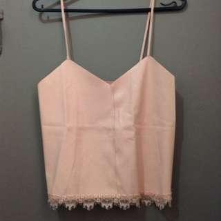 Bershka leatherette pastel pink cami