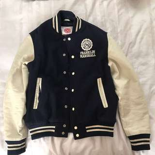 Franklin and Marshall navy baseball jacket leather