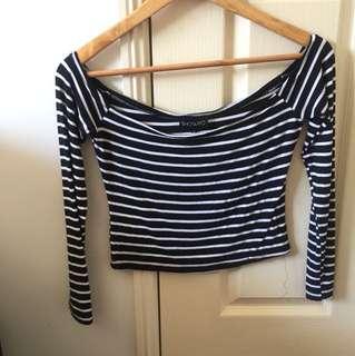Striped Off Shoulder Crop - Black/White Sz10