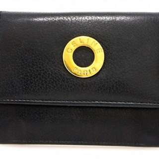 Vintage Celine Gold Plate Logo Leather Card Holder with Coins Purse