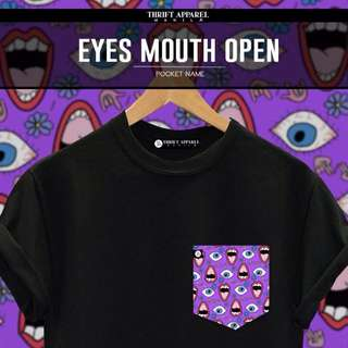 Eyes Mouth Open Pocket Tees