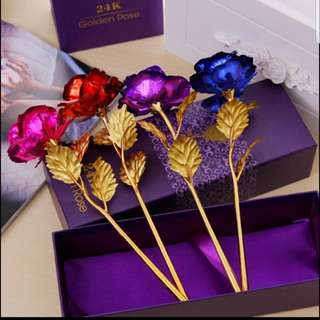 Valentine golden plated artificial rose