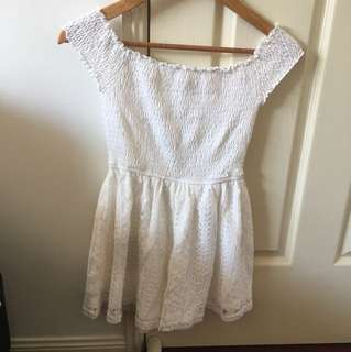 White/Lace Off Shoulder Playsuit - Sz 10