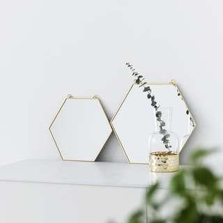 PO Gold Rim Hexagon Hanging Mirror