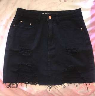Used Brand Black Denim Skirt - Sz 10