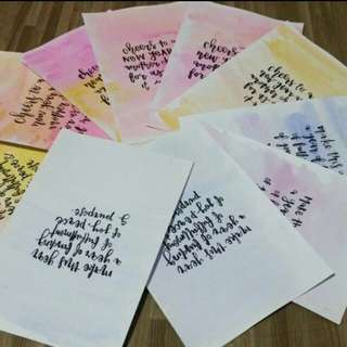 Handmade Customisable Quote Card Calligraphy Watercolour (lunar new year)