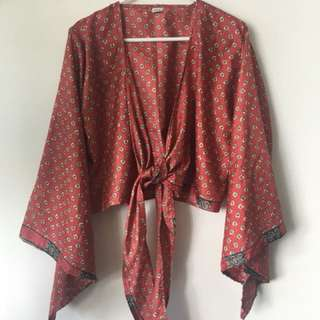 Indian Silk Tie Front Top / Blouse