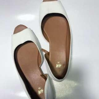 H&M White Peep Toe Sandals