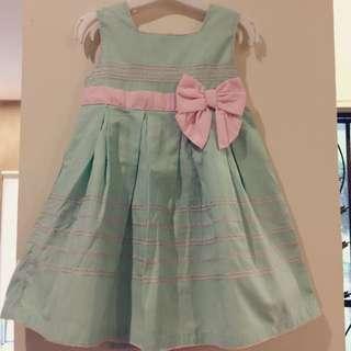Pastel green dress with ribbon
