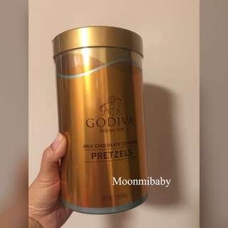(現貨-最後1罐) 美國入口-Godiva Pretzel Canisters 牛奶朱古力蝴蝶餅 (1磅裝)