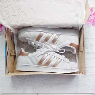 Adidas Superstar with Rose Gold Stripes size 40