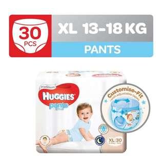 Two packs of Huggies Platinum Pants XL