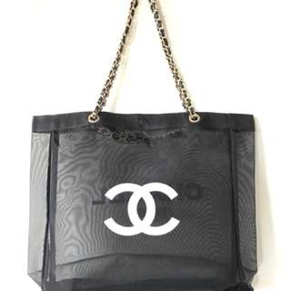 New chanel vip gift transparent tote bag GHW