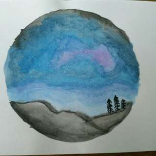 Watercolour greeting card - galaxy landscape A6 size