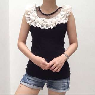 IMPORT Ruffle lace black top