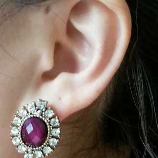 Vintage purple earrings
