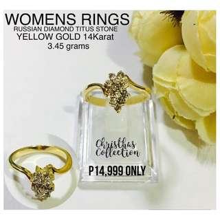 Saudi Gold 14k Authentic Womens Rings Diamonds Titus Stones Pawnable