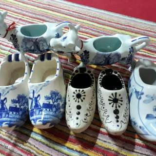 Dutch shoe and cow porcelain