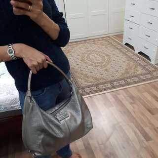 Preloved Authentic Kate Spade Big Silver Pewter Hobo Style bag