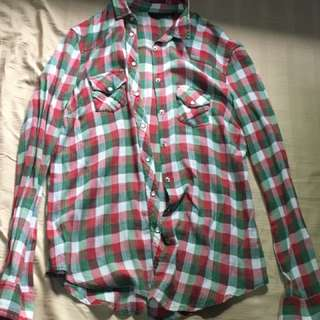 Topshop plaid button down long sleeves
