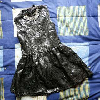 Metallic Black Grey Dress
