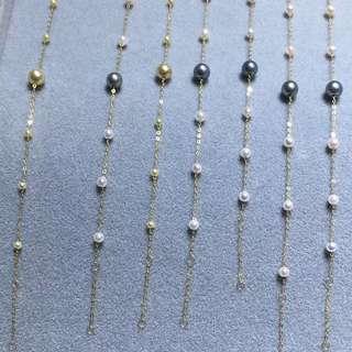 100%天然日本Akoya 珍珠 配18k金鏈手鏈灰珠金珠!保真 特平