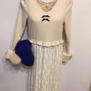 🚚 🇯🇵日本空運進口🇯🇵蝴蝶結交叉美胸花袖拼接蕾絲長版洋裝