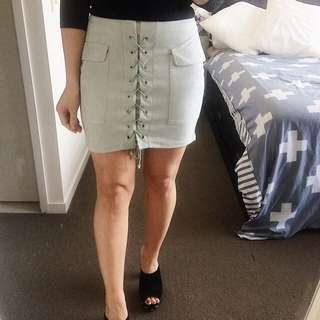 Grey Lace Up skirt