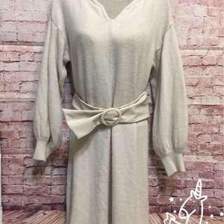 🚚 🇯🇵日本進口🇯🇵SNIDEL羊毛車縫造型手袖連衣裙+大理石皮革皮帶(兩件式精選組合)