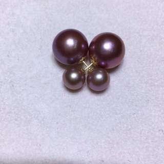 100%天然淡水珍珠!大的10.5-11.5mm18k前後款耳環