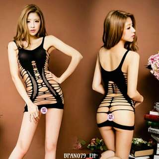 Lingerie Bodystocking Strippy Hitam