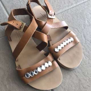 Zara Girls Leather Sandals