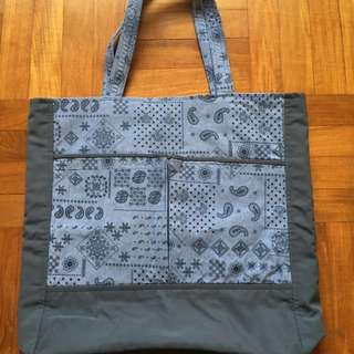 Handmade tote bag with zips and long handles, unique, stylish, washable