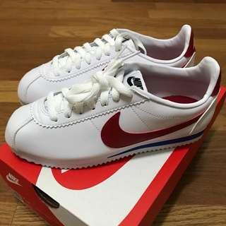 Nike Classic Cortez Leather 阿甘鞋 白底紅勾 23.5cm
