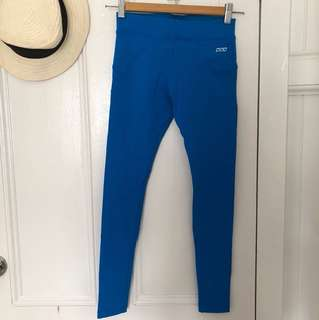 Lorna Jane authentic limited edition bright blue full length gym yoga workout athletic tights leggings xs mid waist has small front pocket
