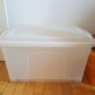 Clear plastic storage tub