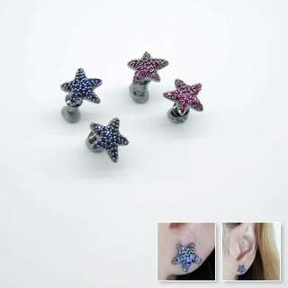 925 silver pin sea star earrings / blue or magenta color / HK$140 pair /925銀針星星耳環 / $140對