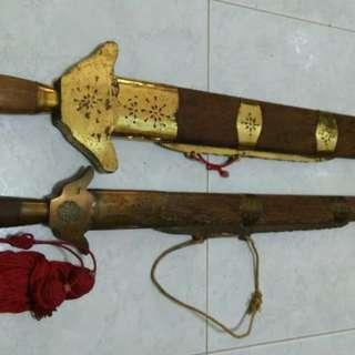 Old Swords 龙泉雌雄双剑(红檀木剑鞘)