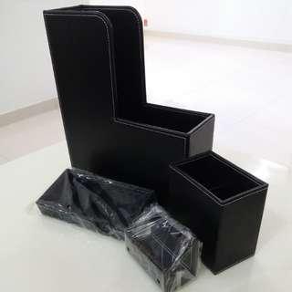 Magazine, pen, business card holders & note pad organiser (black)