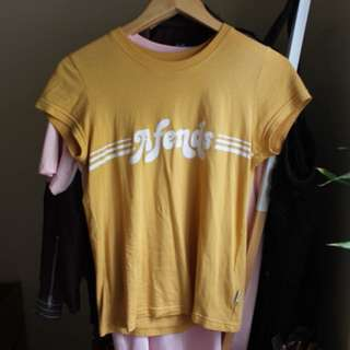 Afends mustard yellow tshirt