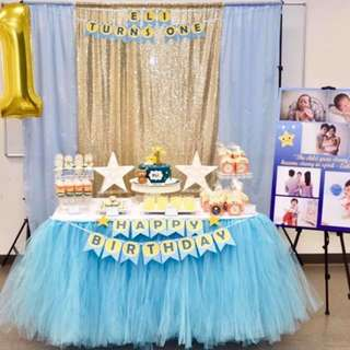 Affordable Tulle Skirt table set up dessert table