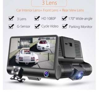 3 in 1 Lens Car Camera - Front, Inside, Rear View & Record