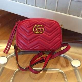 Gucci GG Marmont Matelassé Mini Cossbody Bag - Hibiscus Red