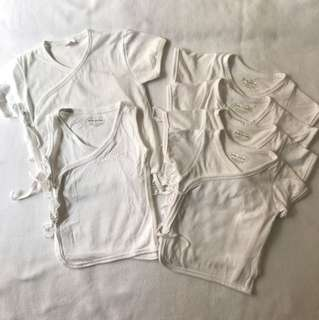 Babies White Side Tie Shirts (3-6mos)