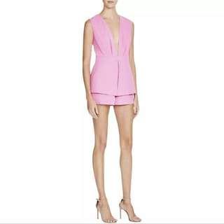 MUSTARD SEED Pink Peplum V Neck Sleeveless Romper M