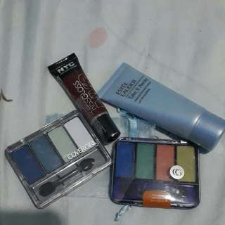 Make up remover, lip gloss, eyw shadow