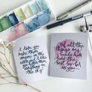Valentine's Day Calligraphy Cards