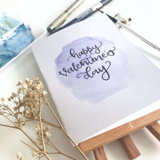Valentine's Day watercolor calligraphy cards